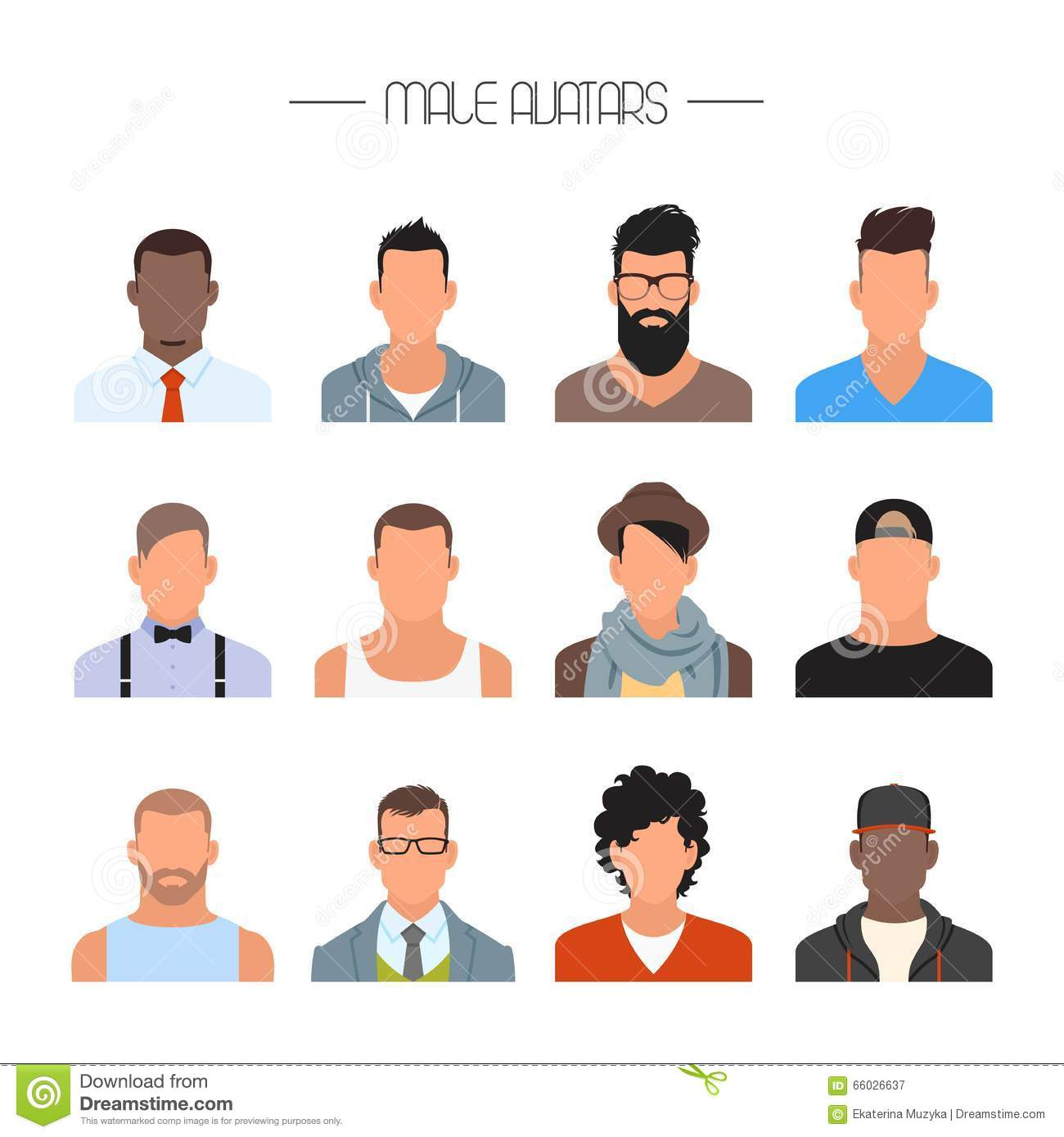 Male Avatar Icons Vector Set People Characters In Flat