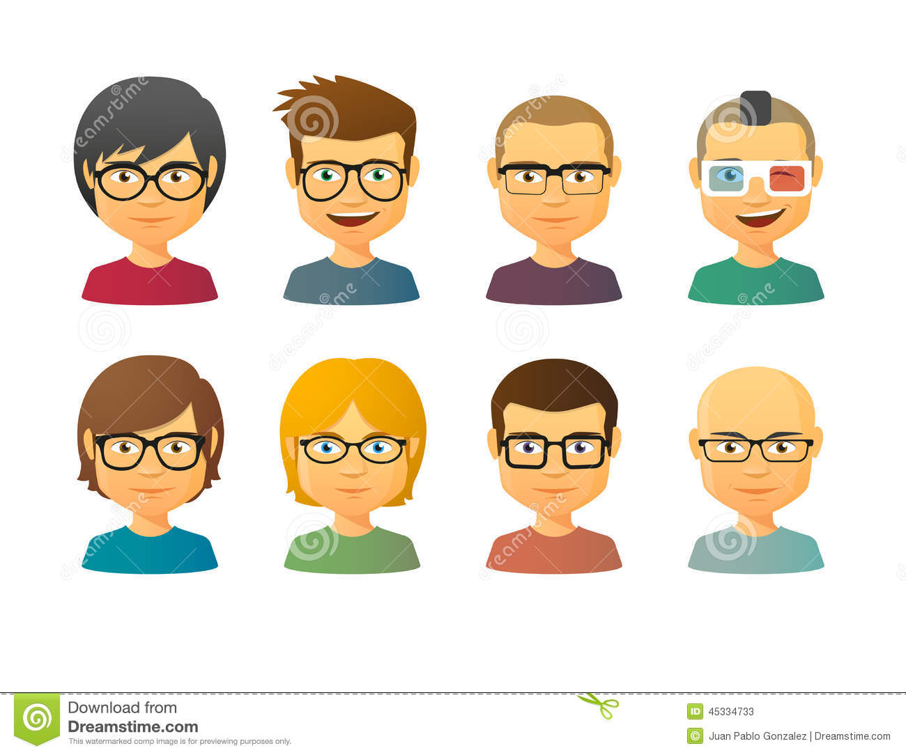 Male Avatars Wearing Glasses With Various Hair Styles