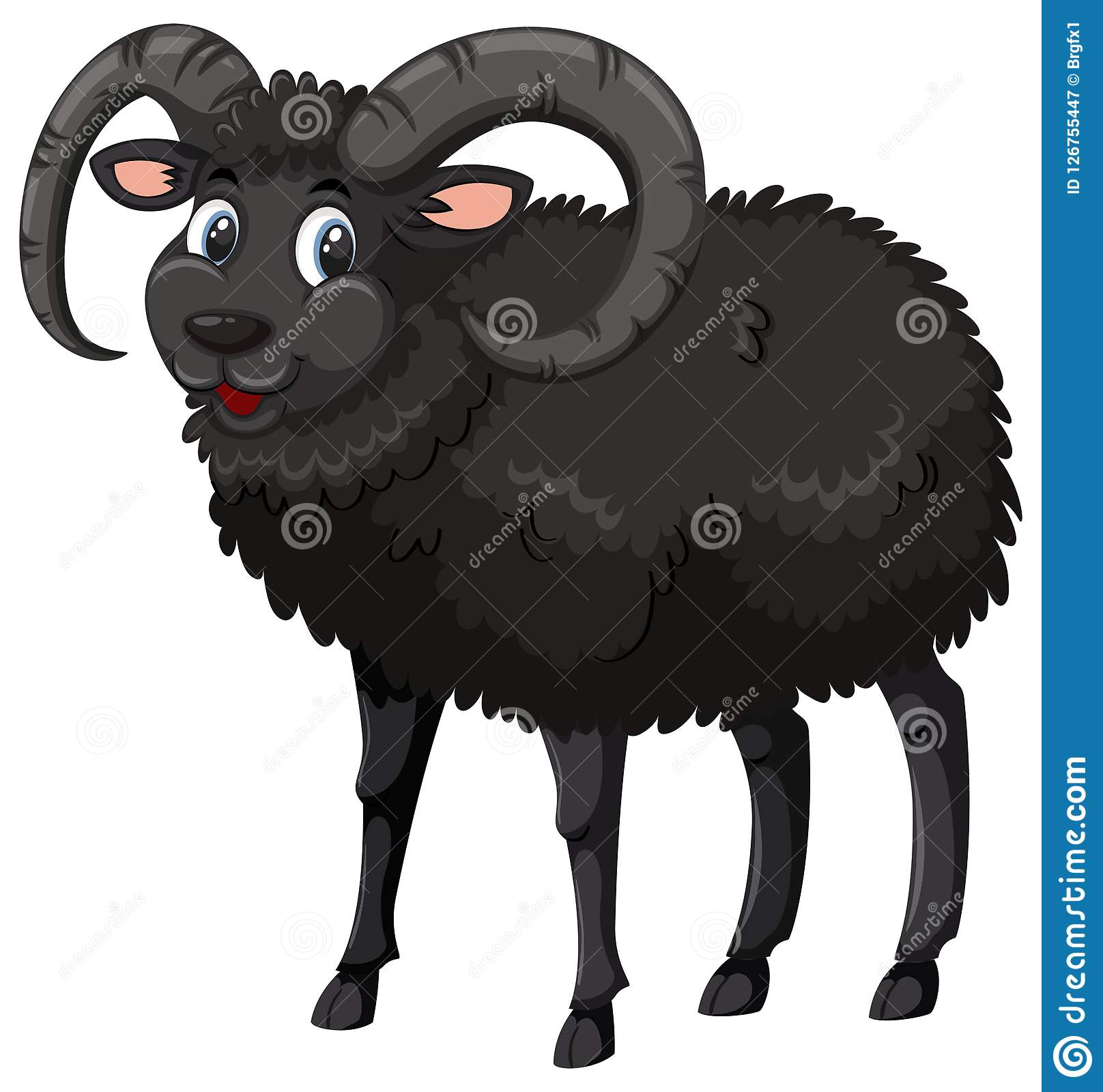 A Male Back Sheep On White Background Stock Vector ...