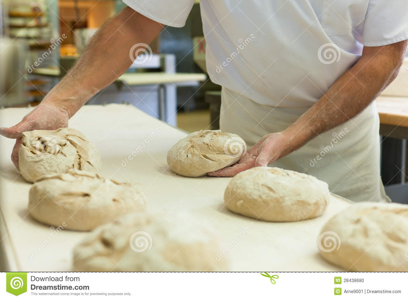 Male Baker Baking Bread Stock Photo Image Of Bakehouse