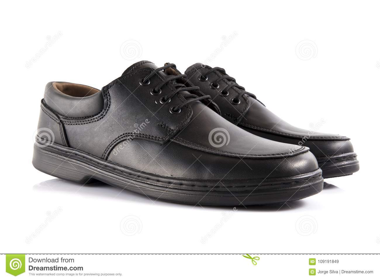 Male Black Leather Shoe on Black Background, Isolated Product. Comfortable  footwear.