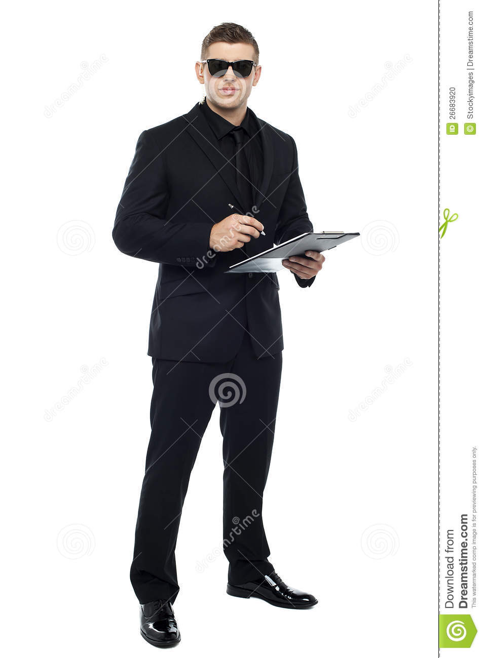 male bouncer holding clipboard stock photo image 26683920