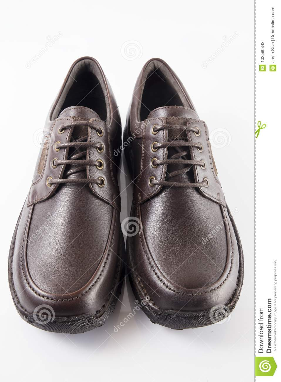 9e58f8a295 Male Brown Leather Shoe On White Background Stock Photo - Image of ...