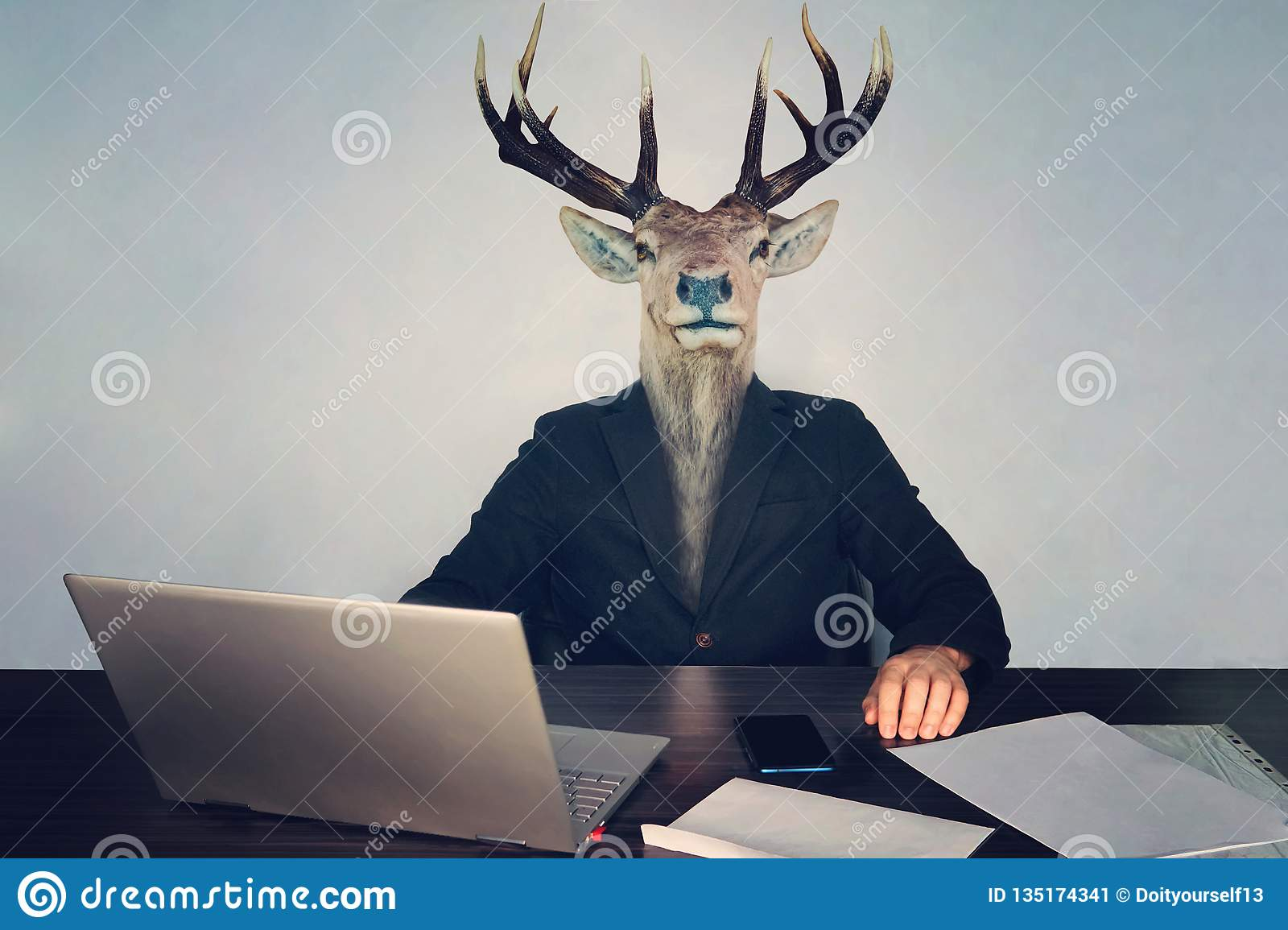 male business man with deer head on a blue background in the office at the Desk. concept of irrational management. stupid