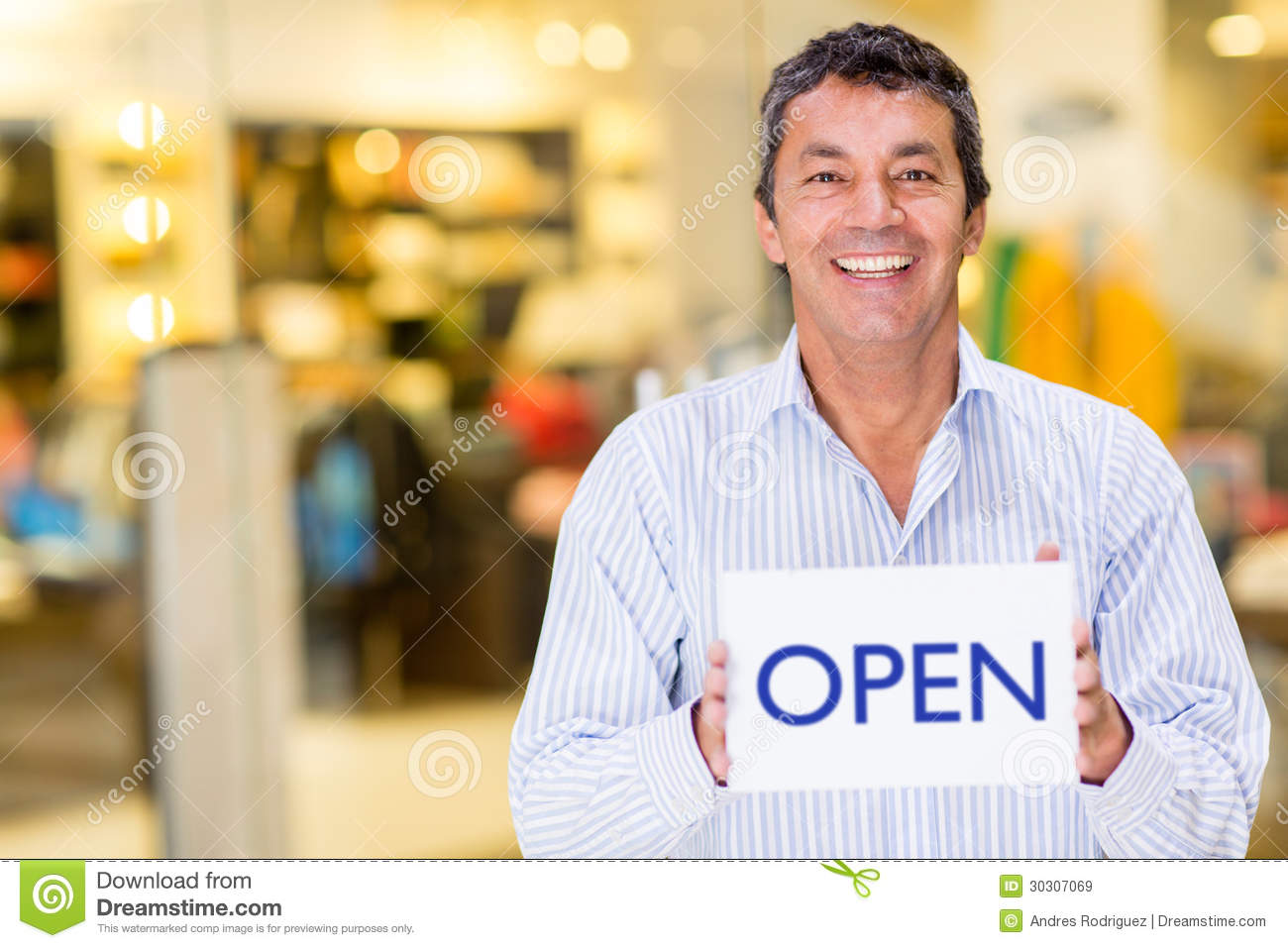 Business Owner With An Open Sign Royalty Free Stock Images ...