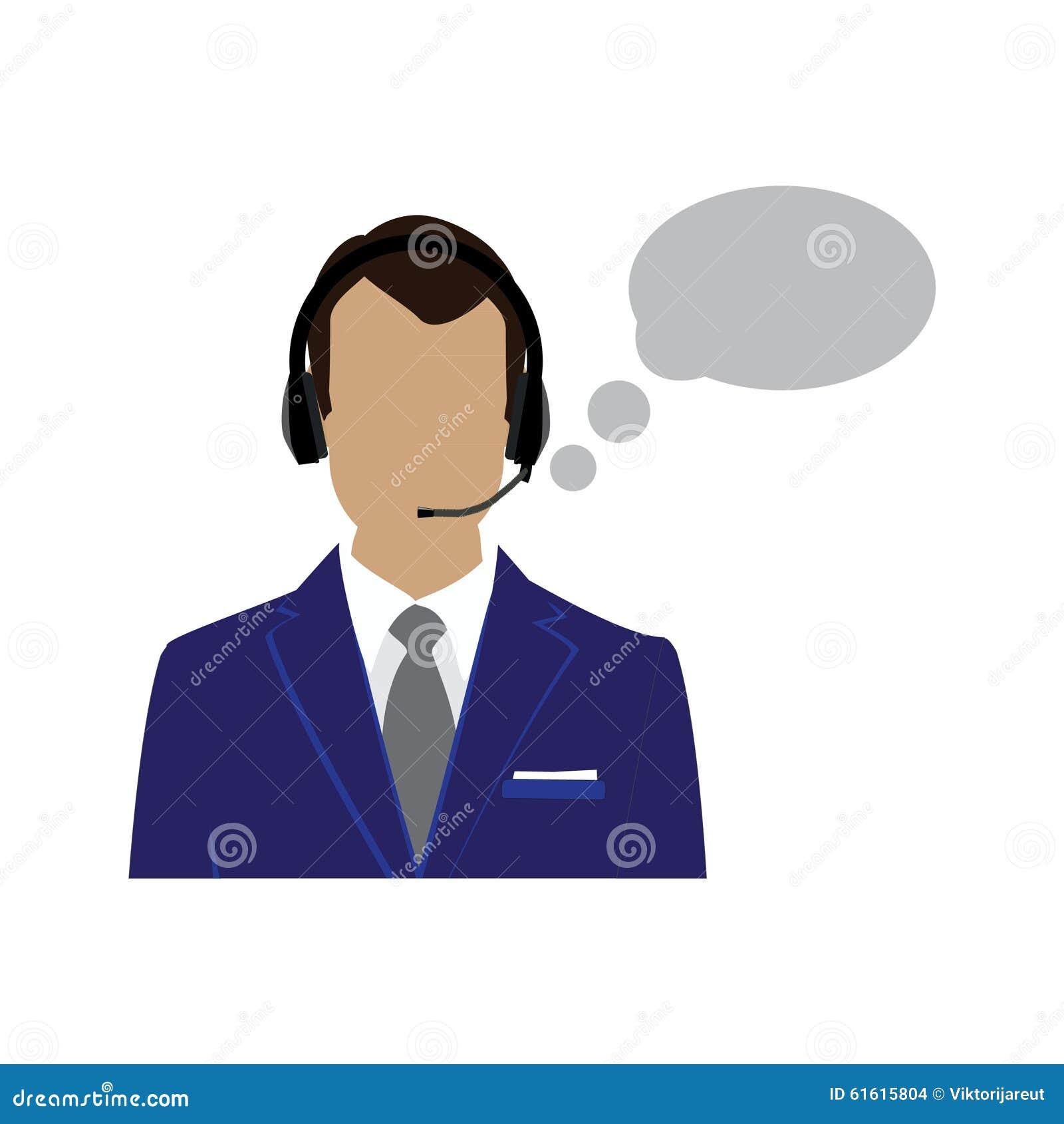 Male Call Center Avatar Stock Illustration