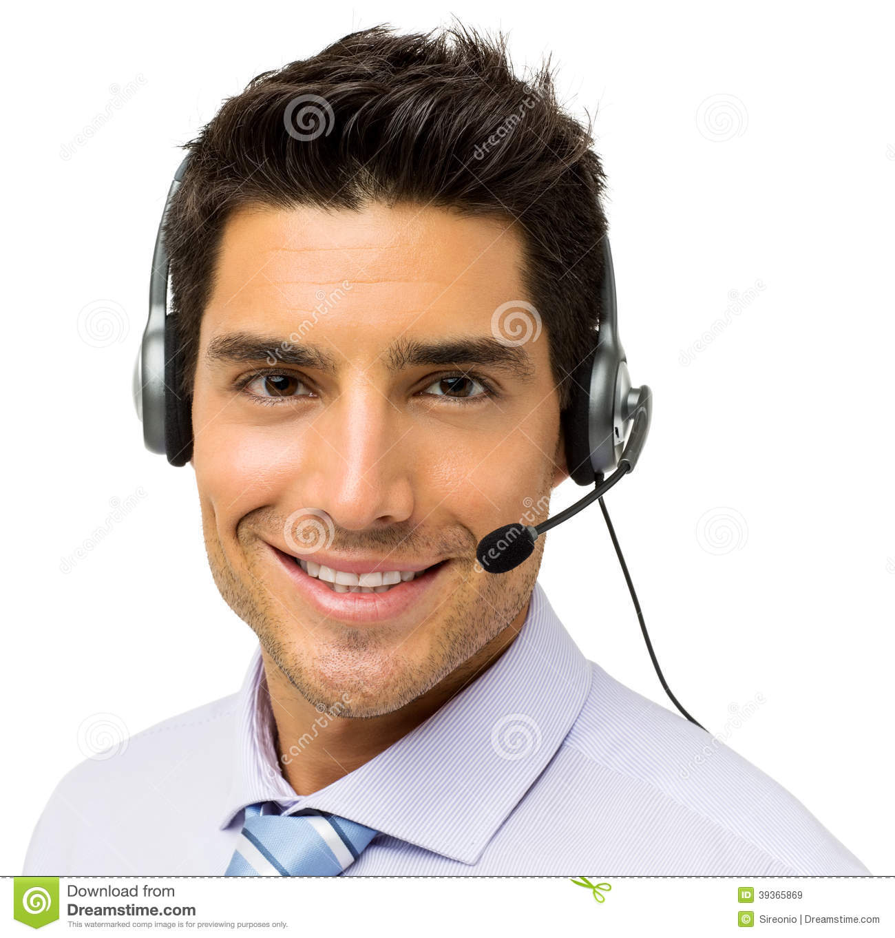 Male Call Center Representative Wearing Headset Stock Photos ...