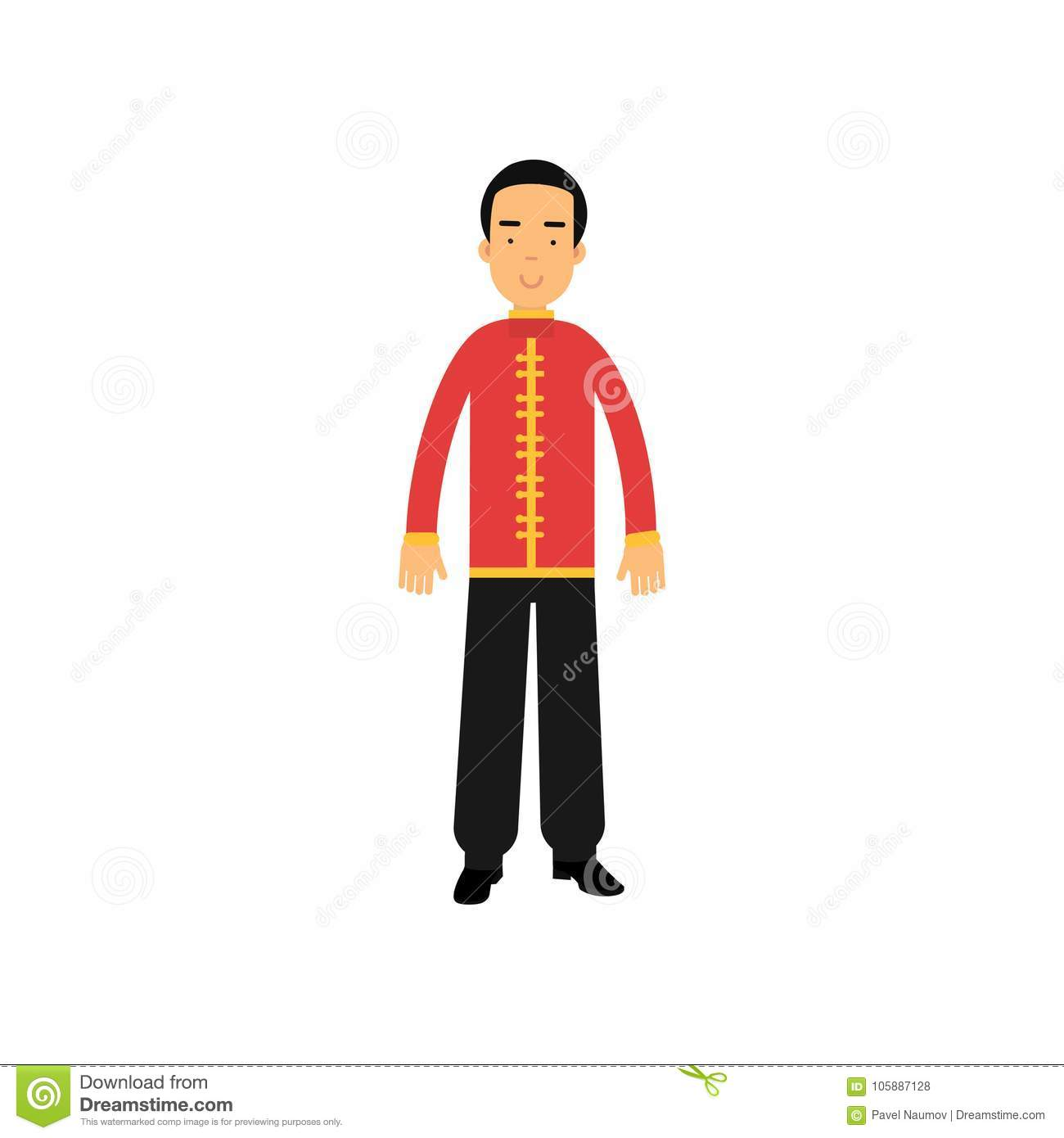 f5f91861c56 Cartoon male character in traditional chinese clothes. National costume  concept. Smiling man wearing red jacket tunic with yellow buttons and black  pants.