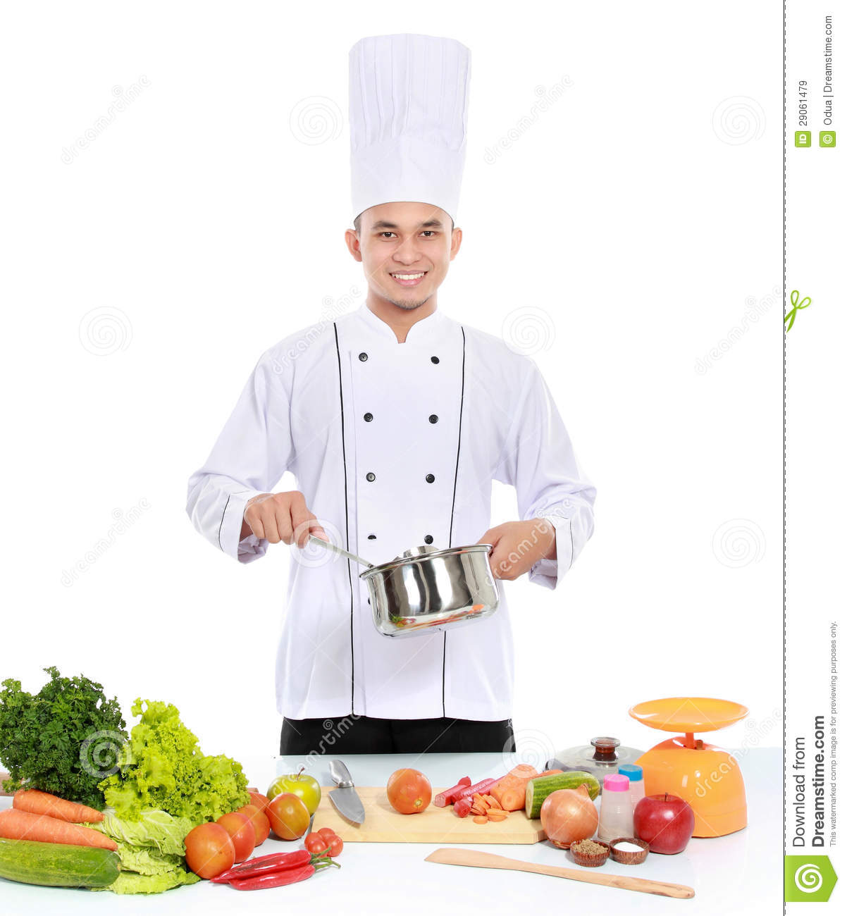 Male Chef Cooking Royalty Free Stock Images - Image: 29061479