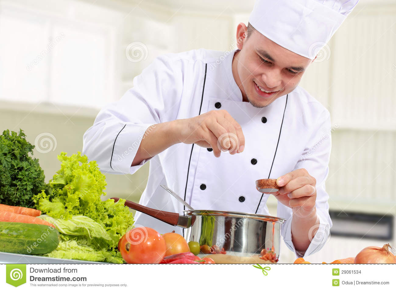 male chef while cooking stock images image 29061534. Black Bedroom Furniture Sets. Home Design Ideas