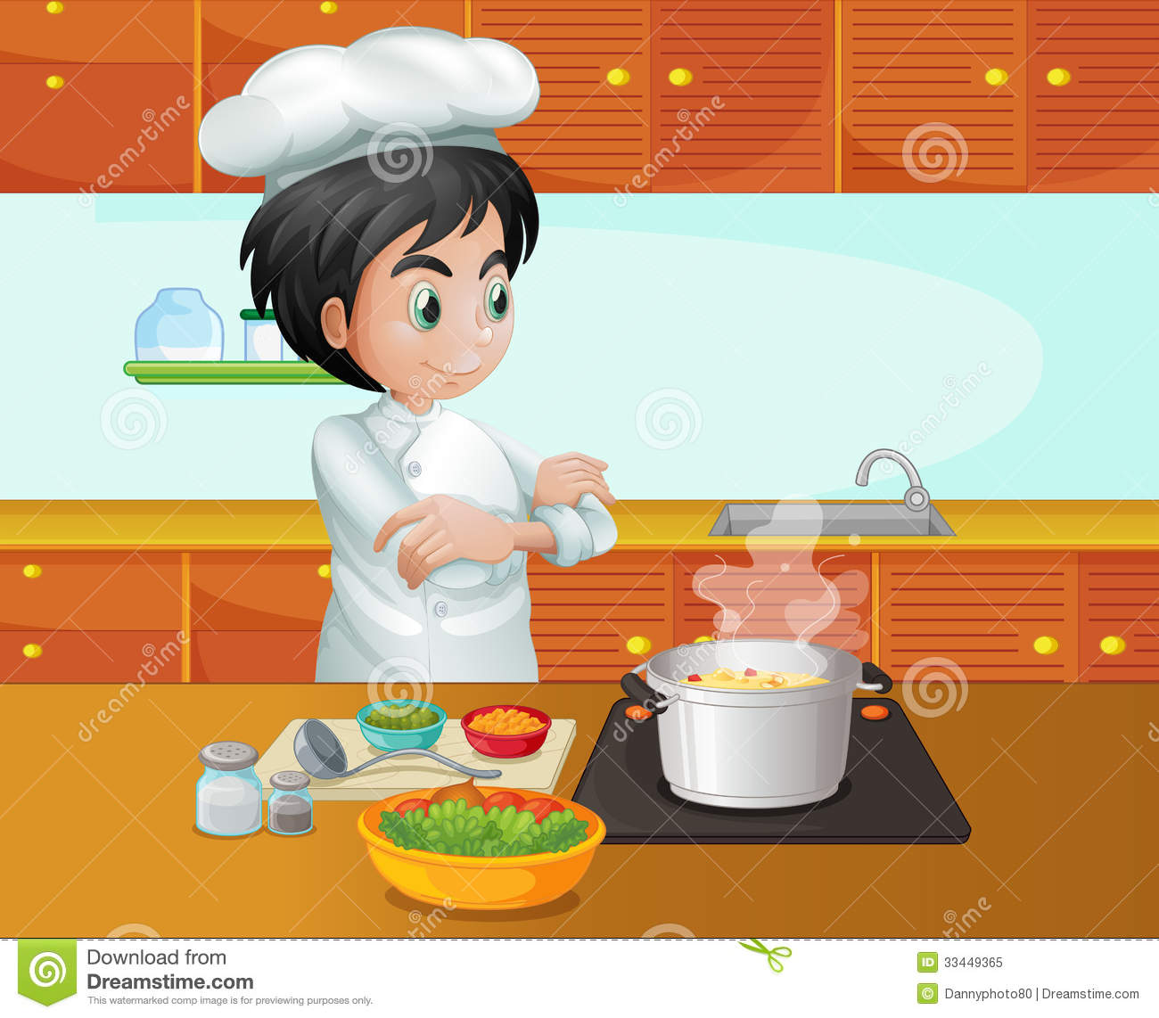 A male chef cooking at the kitchen royalty free stock - Bambini che cucinano ...