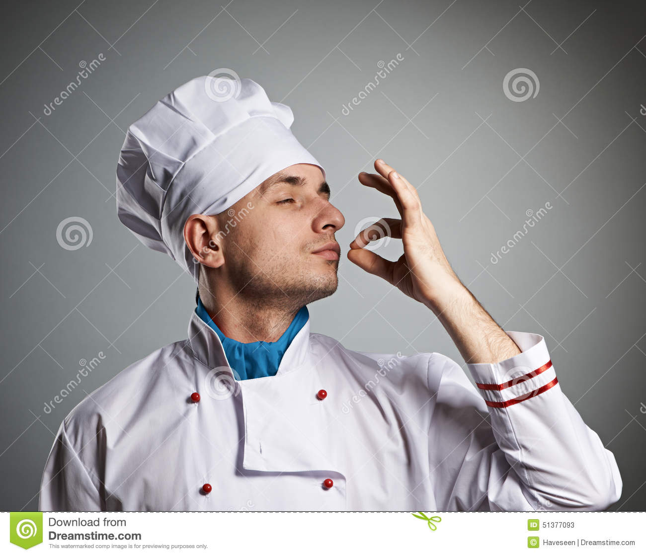 Male chef kissing fingers stock image image of chef for Job cuisinier