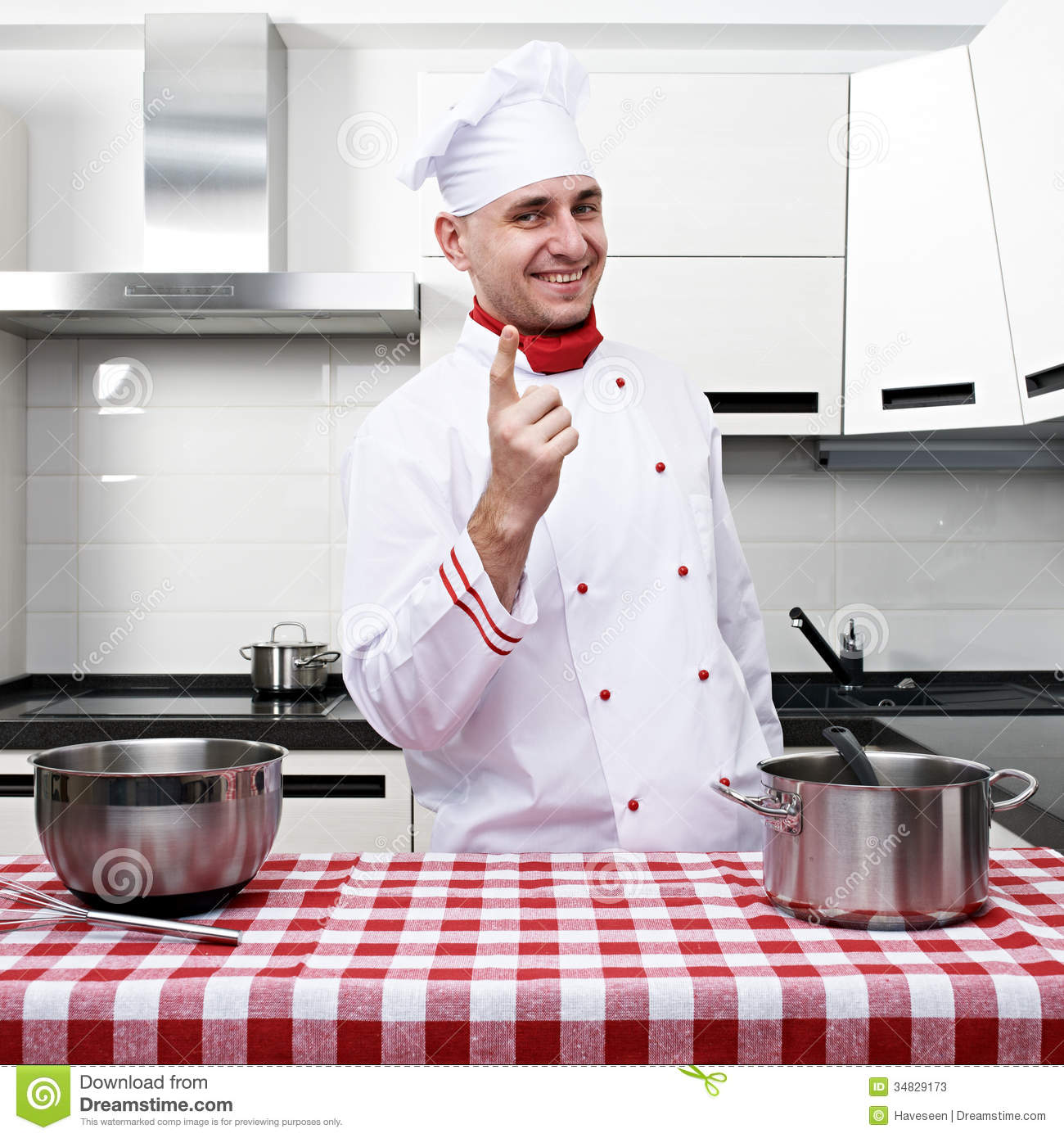 Chef Kitchen Male Chef At Kitchen Stock Photos Image 34829173