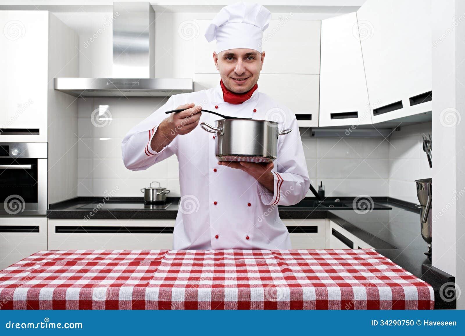 Chef Kitchen Male Chef At Kitchen Stock Photo Image 34290750