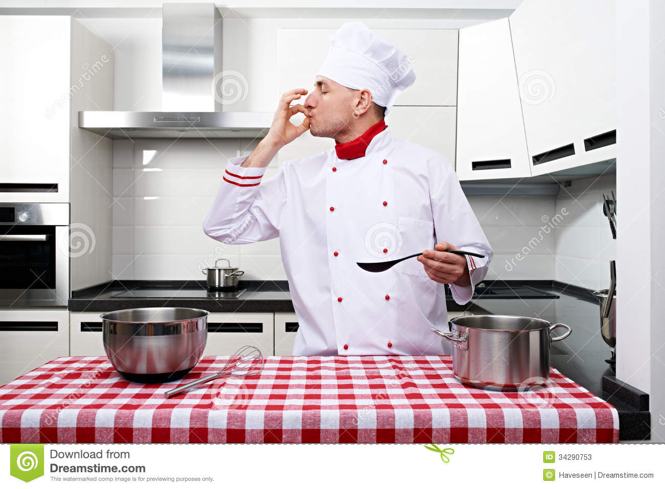 Chef Kitchen Male Chef At Kitchen Stock Photos Image 34290753