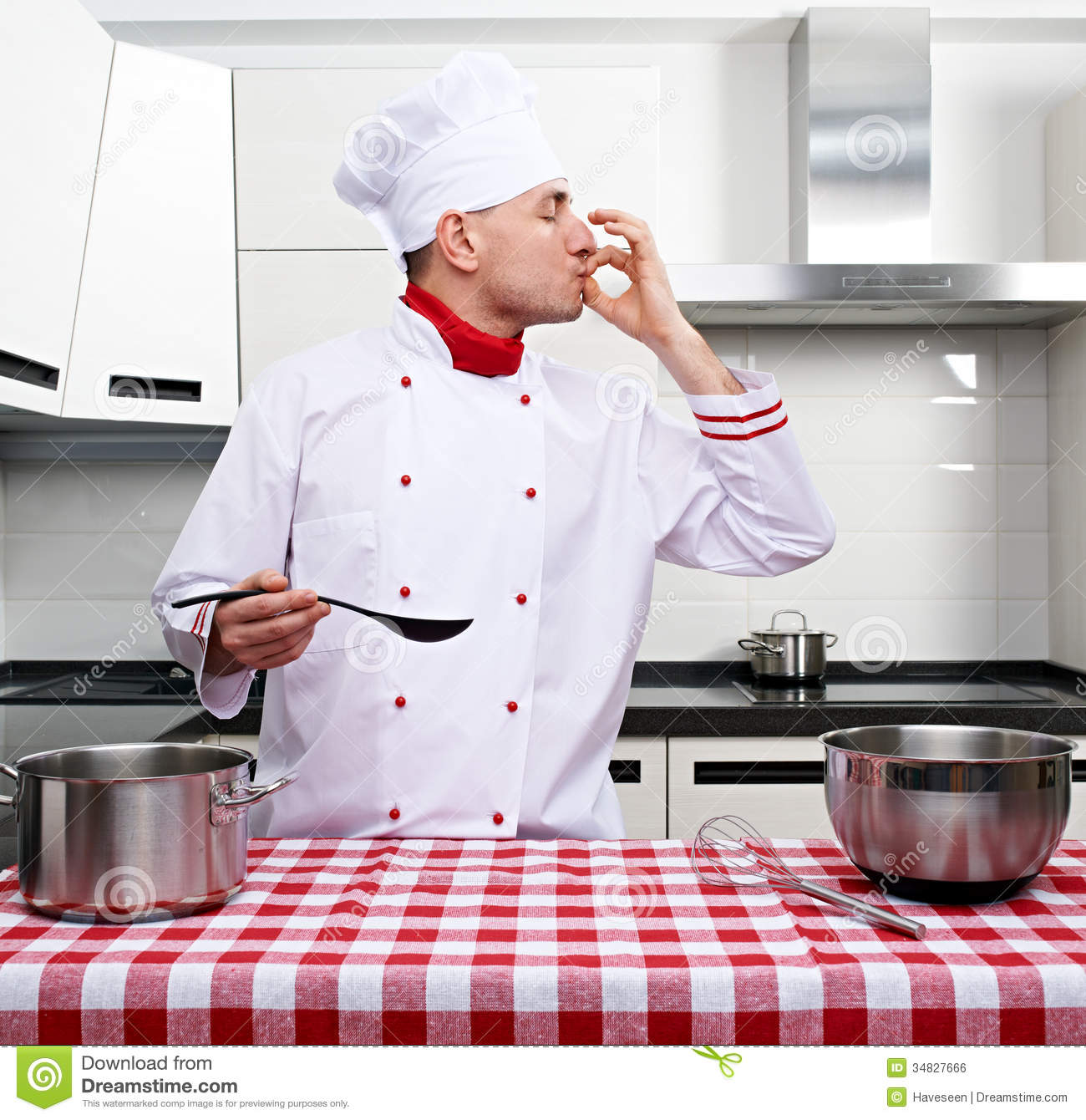 The Tasting Kitchen: Male Chef At Kitchen Royalty Free Stock Image