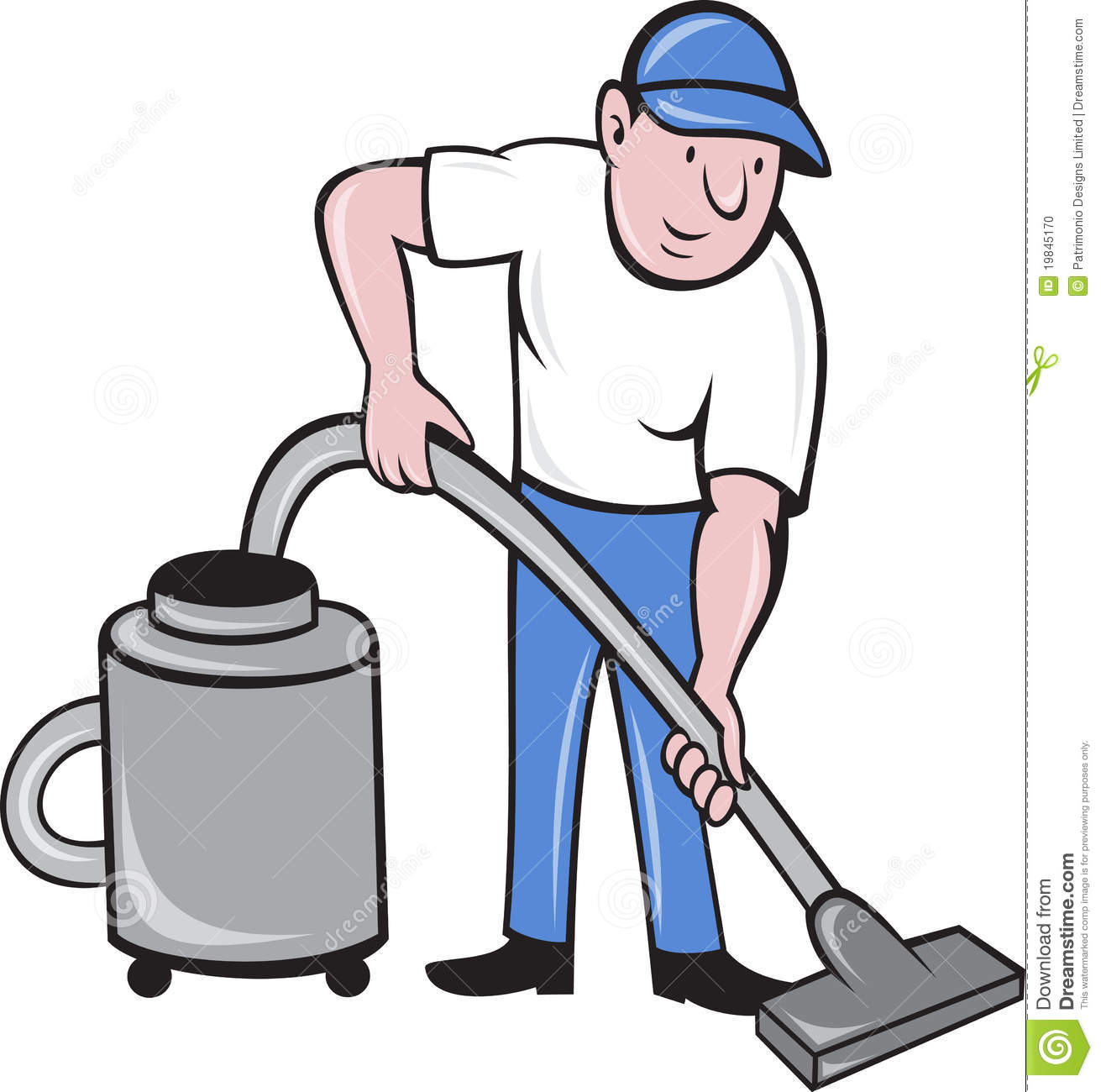 Male Cleaner Vacuuming Stock Photo Image 19845170