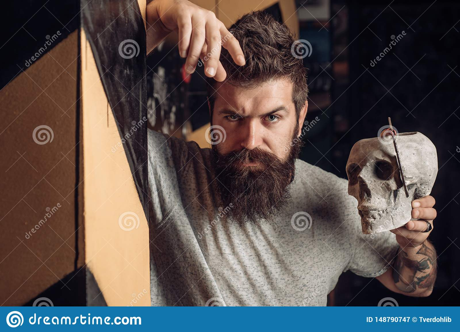 Male client getting haircut by hairdresser. Trims. Hair style and hair stylist. Beard care. Barber scissors and straight