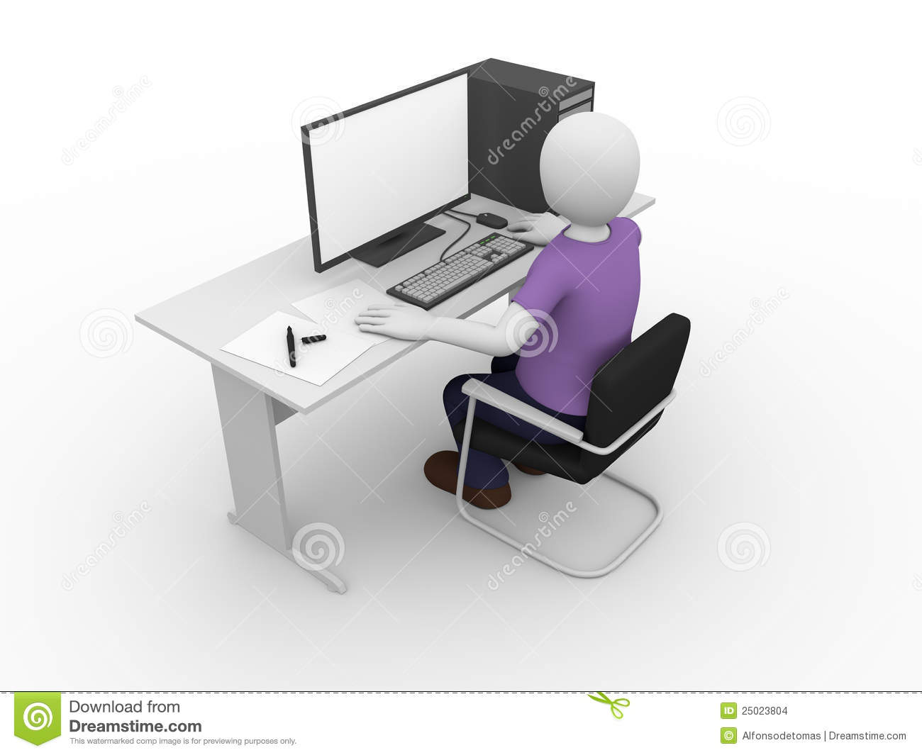 Male Computer User Stock Images - Image: 25023804