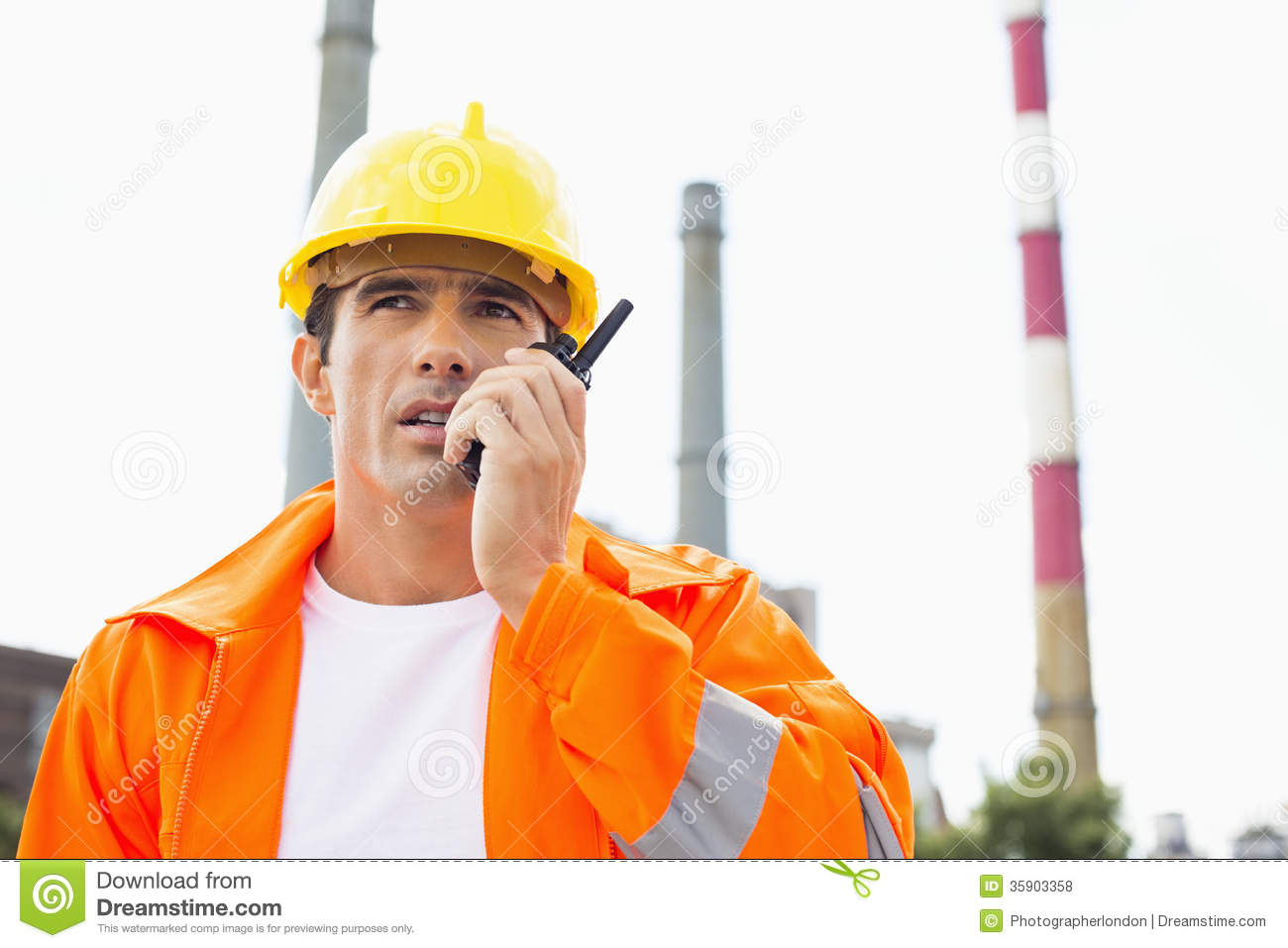 Royalty Free Stock Photos: Male construction worker wearing reflective ...