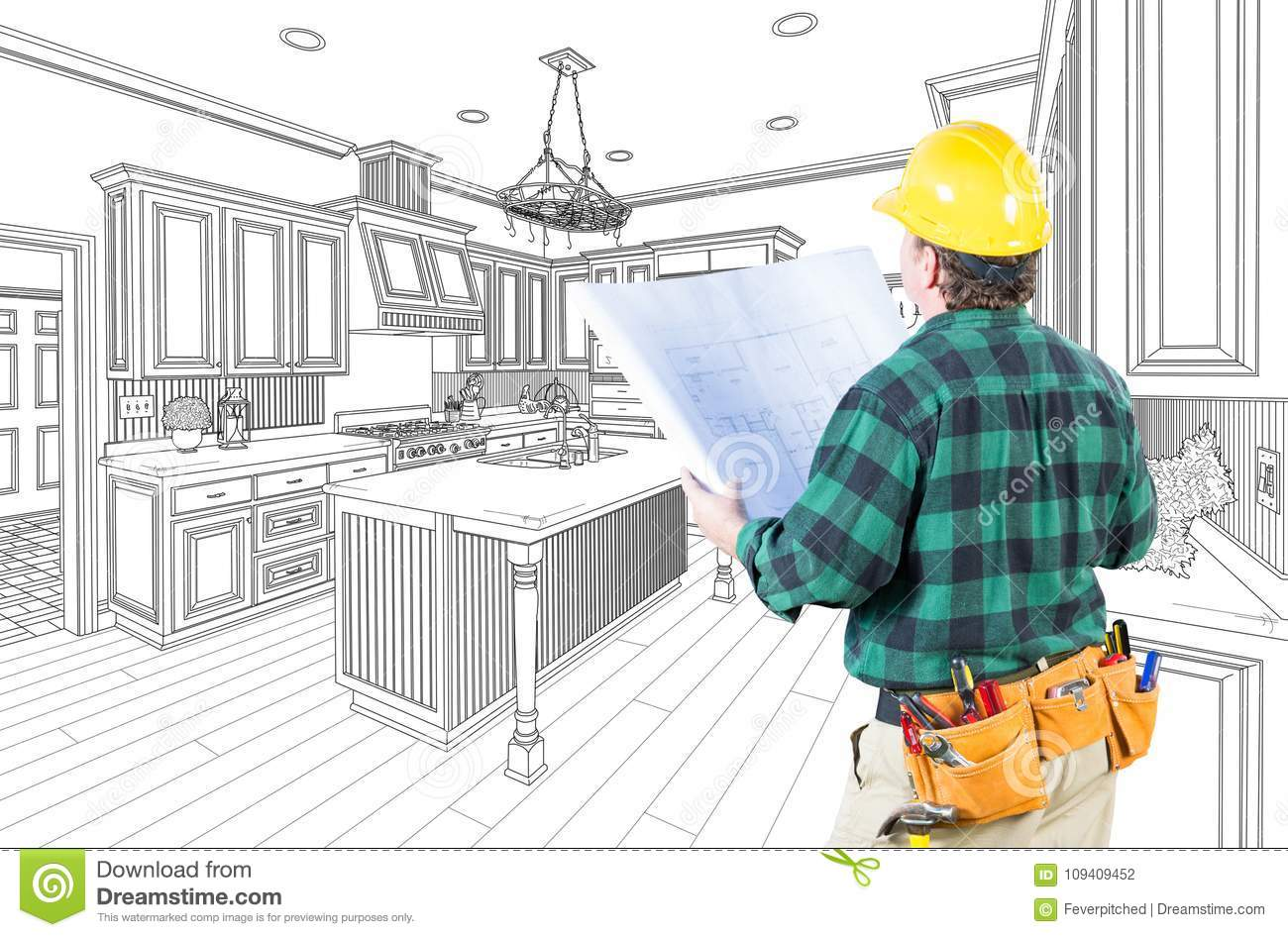 Male Contractor with Hard Hat and Plans in A Custom Kitchen