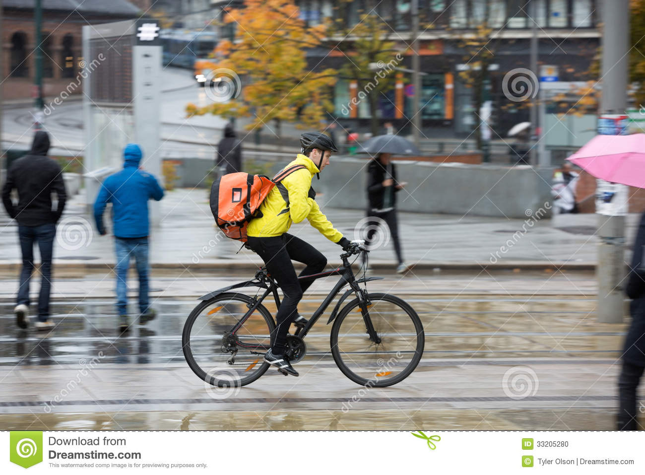 Male Cyclist With Backpack On Street Stock Photo Image