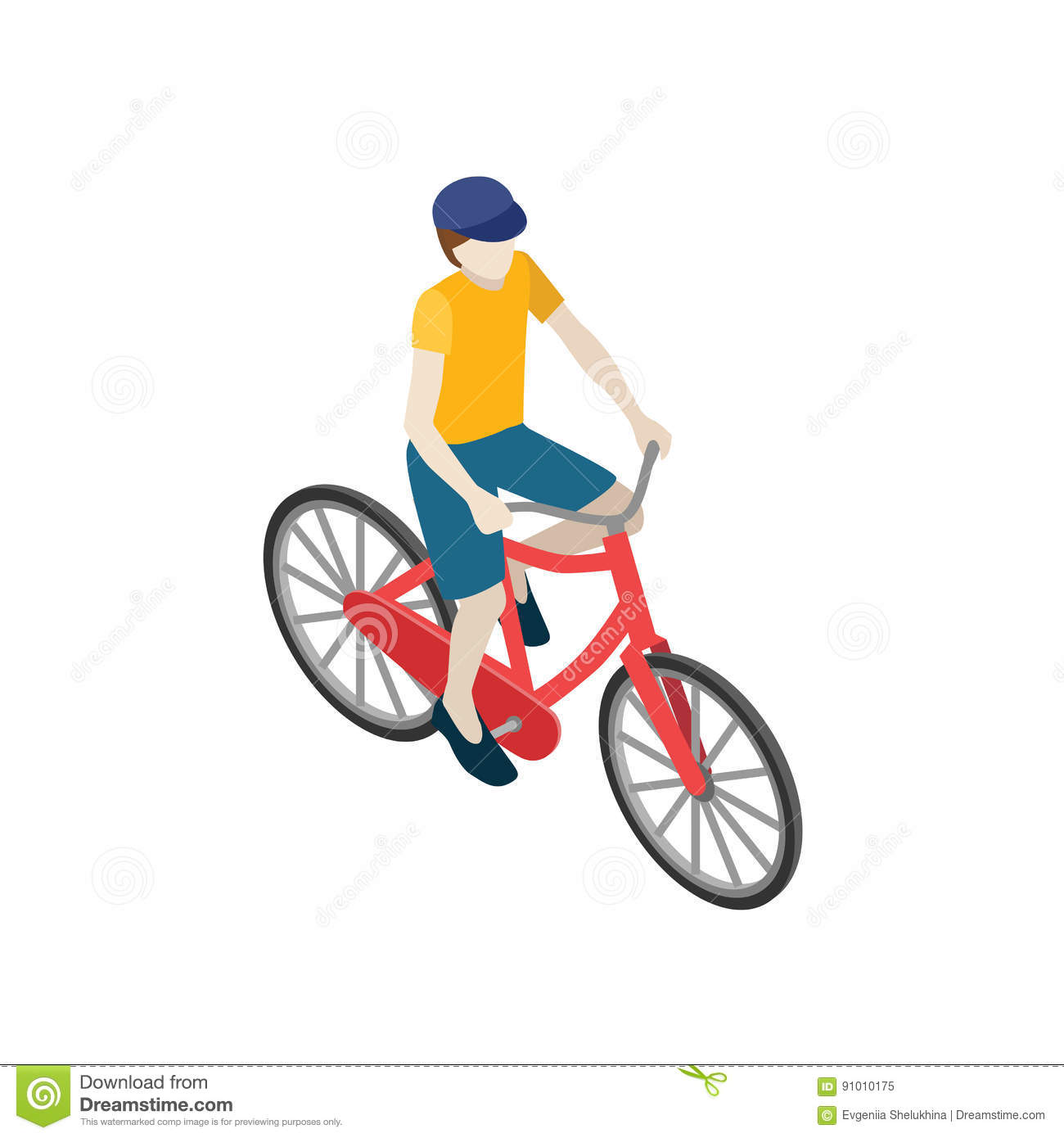 Male Cyclist Riding On A Bicycle. Flat 3d Isometric Vector ...