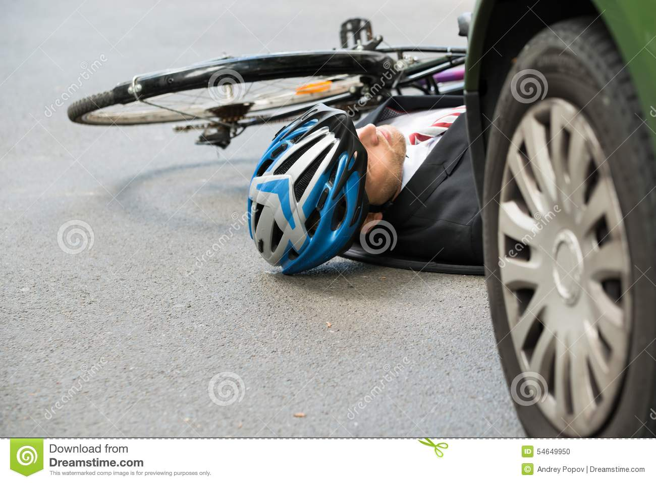 Male Cyclist After Road Accident Stock Photo - Image of cycling ...