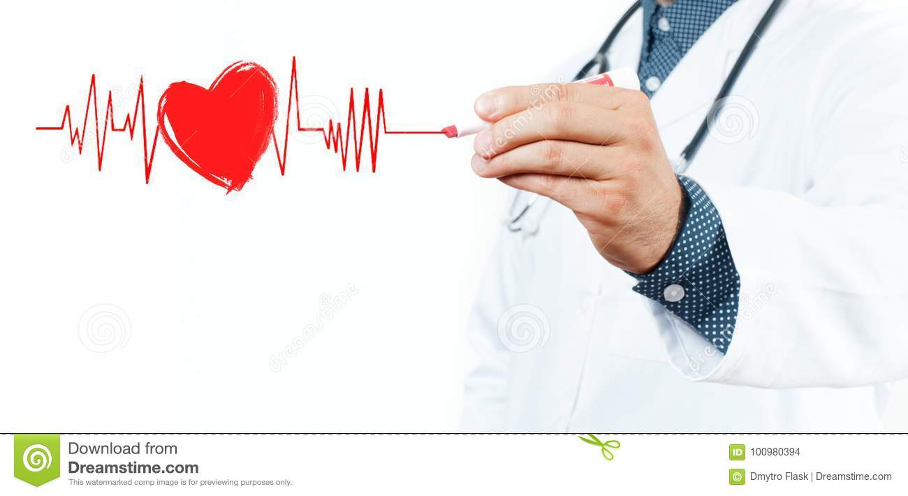 Male Doctor Drawing Heart Symbol And Chart Heartbeat Stock Photo