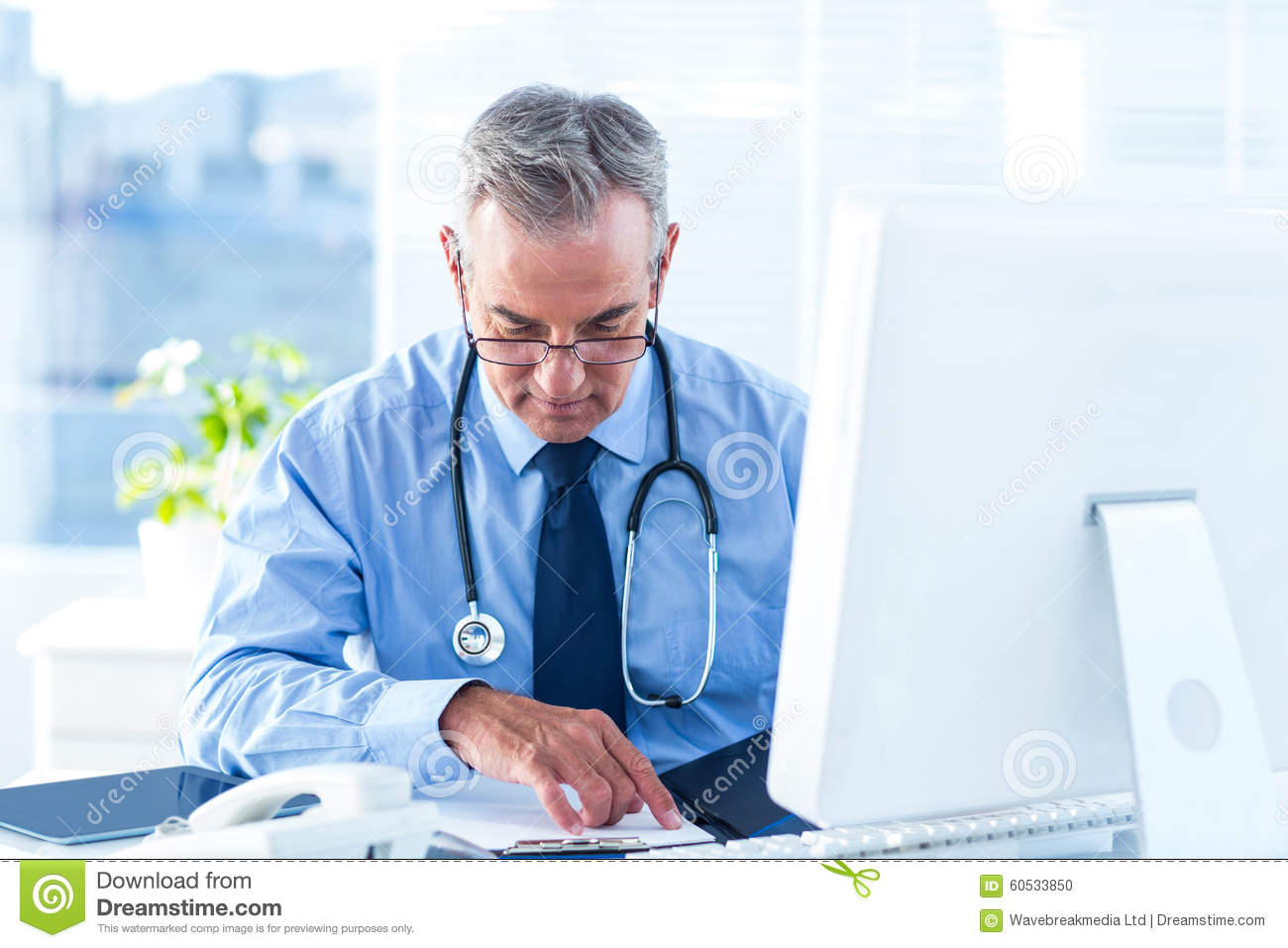 Male doctor examining document in hospital