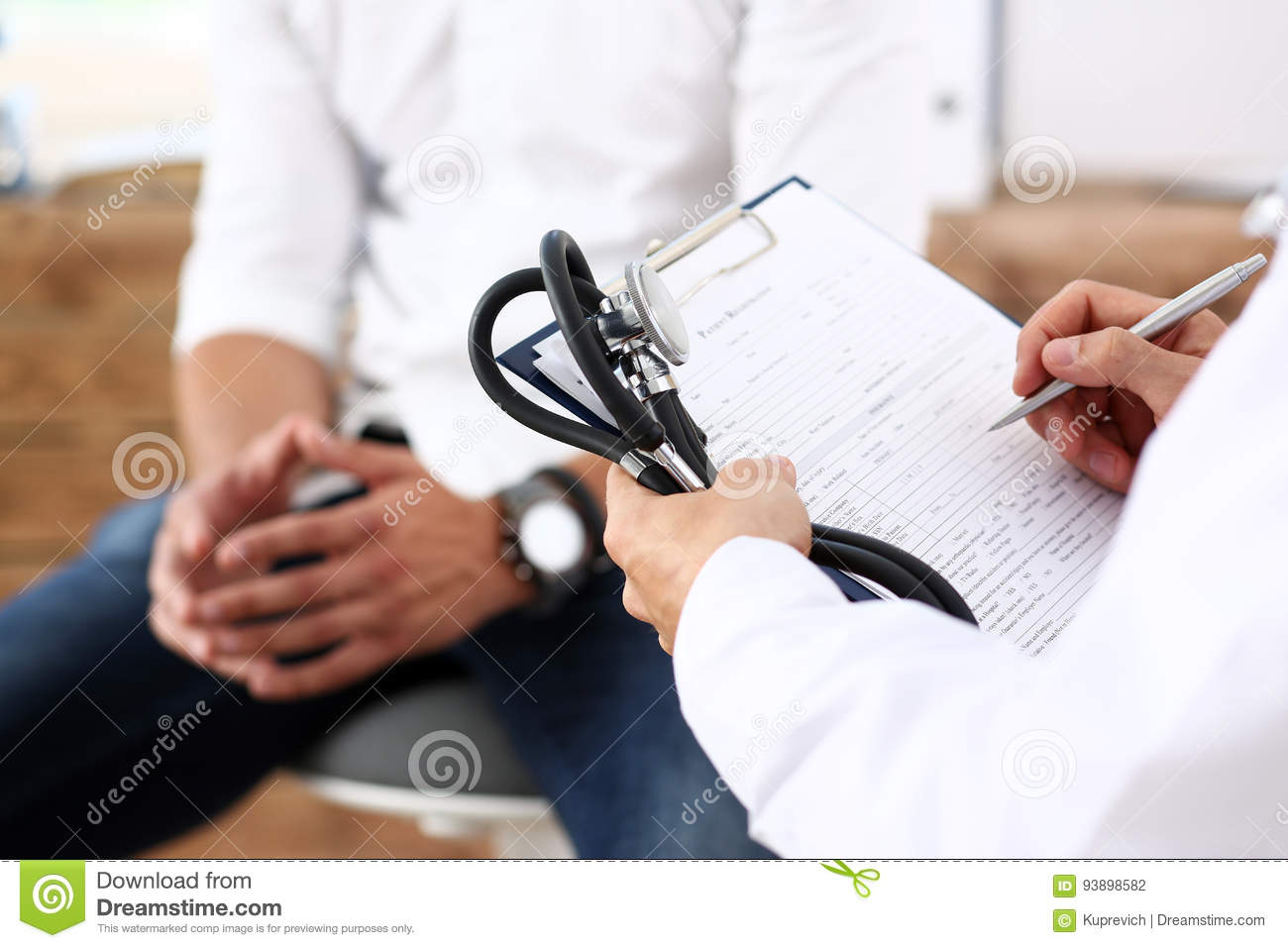Download Male Doctor Hand Hold Silver Pen Filling Patient History List Stock Photo - Image of male, contract: 93898582