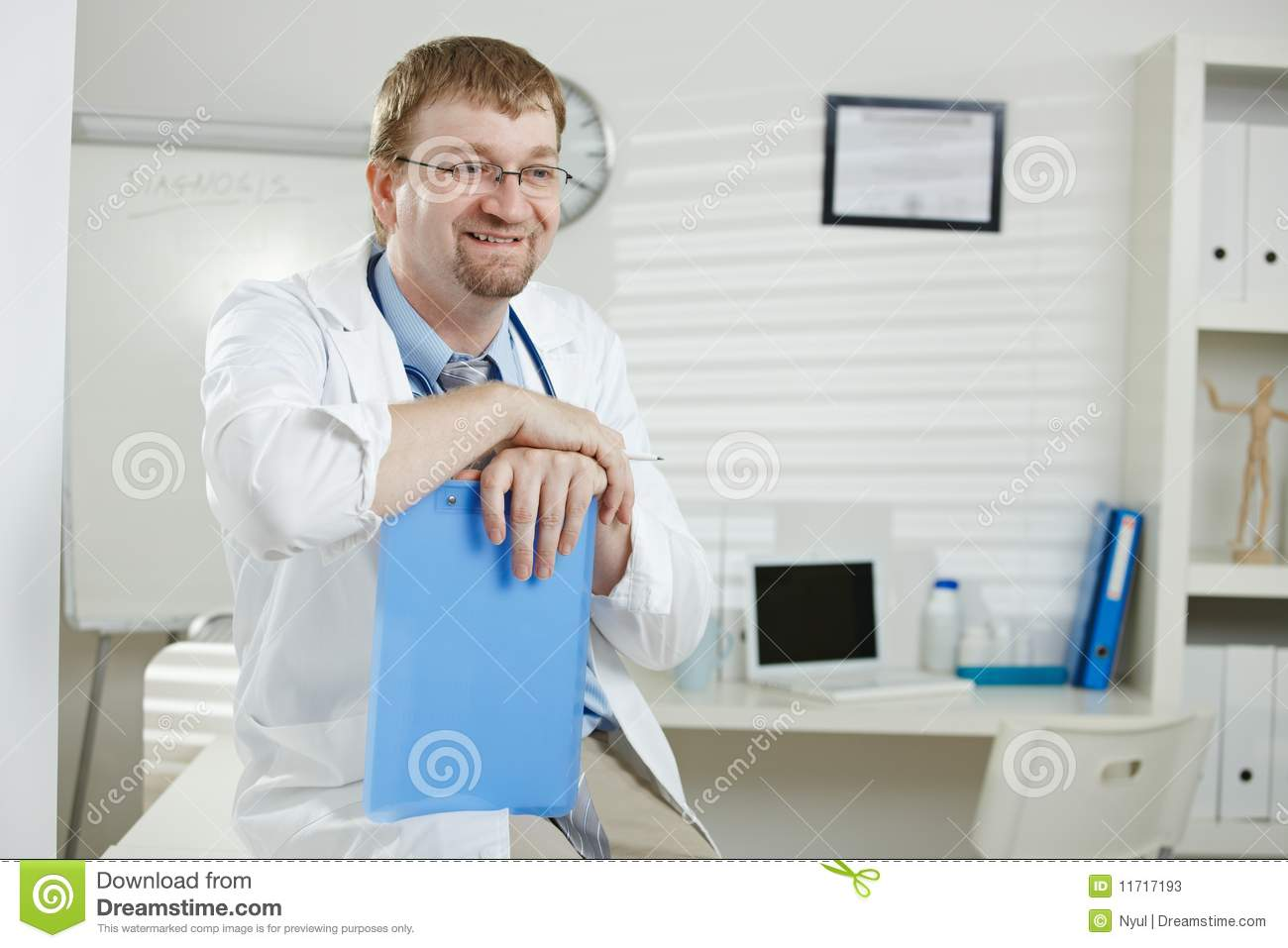 Male doctor in office