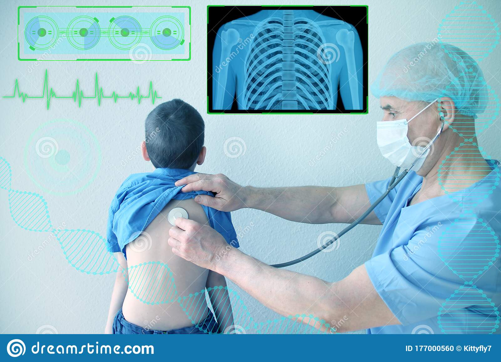 Pediatrician Examining A Little Boy By Stethoscope Stock