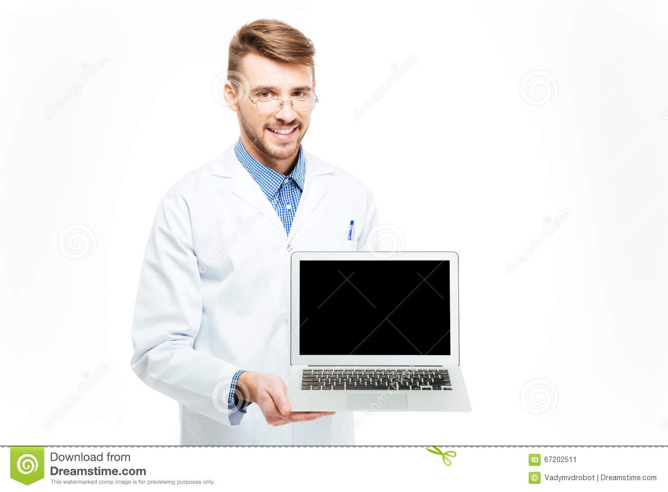Male doctor showing blank laptop computer screen