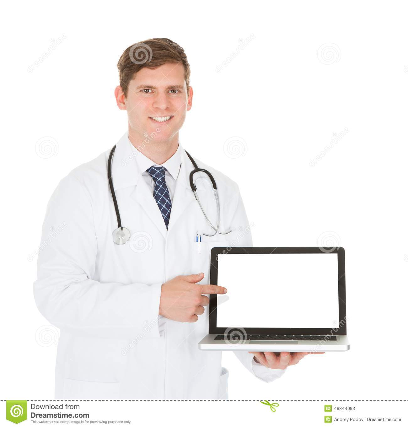 Male doctor showing on laptop