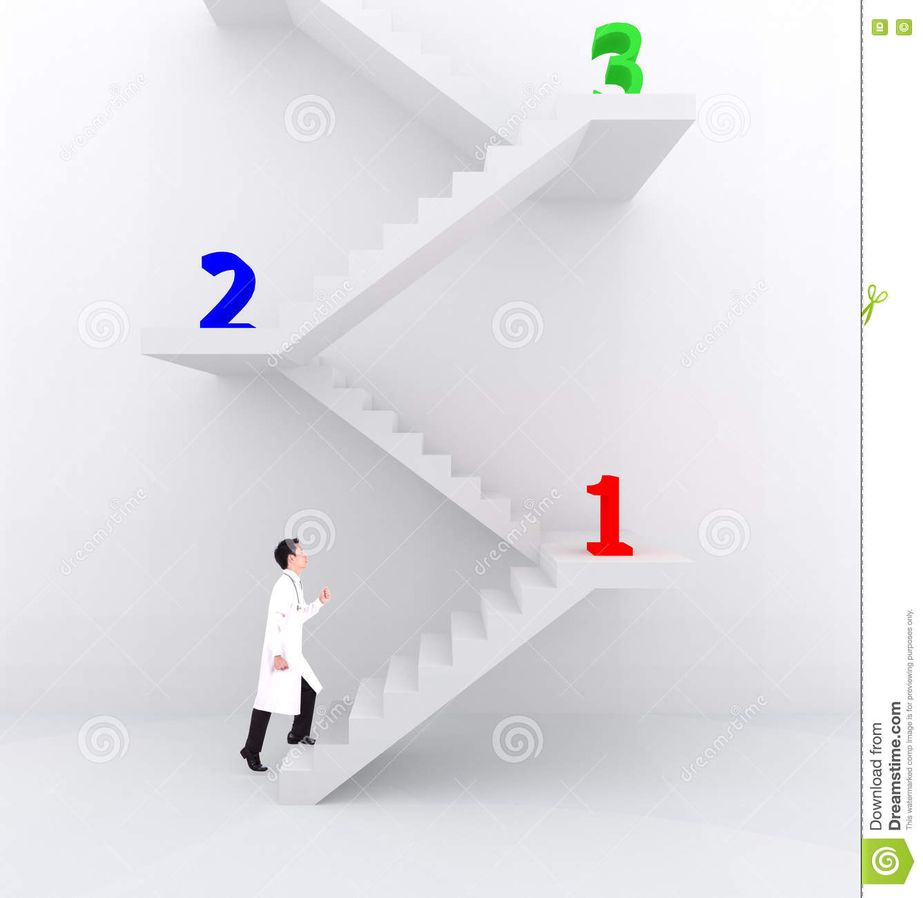 The male doctor climbing ladder in medical concept royalty for House doctor ladder
