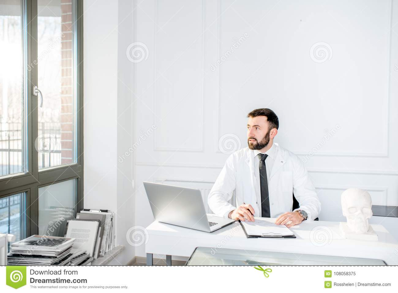 Male Doctor Working In The Office Stock Image Image Of Luxury