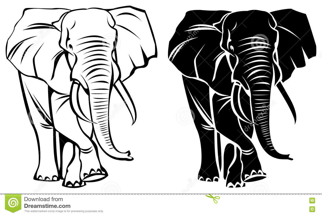 Drawing Straight Lines With Brush In Photo : Male elephant stock vector illustration of