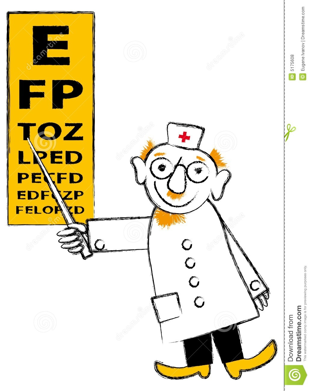 Male eye doctor pointing to an eye chart stock illustration male eye doctor pointing to an eye chart nvjuhfo Gallery