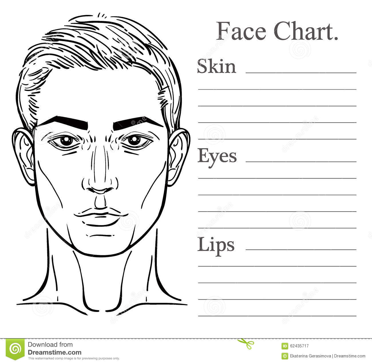Male Face Chart Make Up Artist Blank. Stock Vector - Image: 62435717