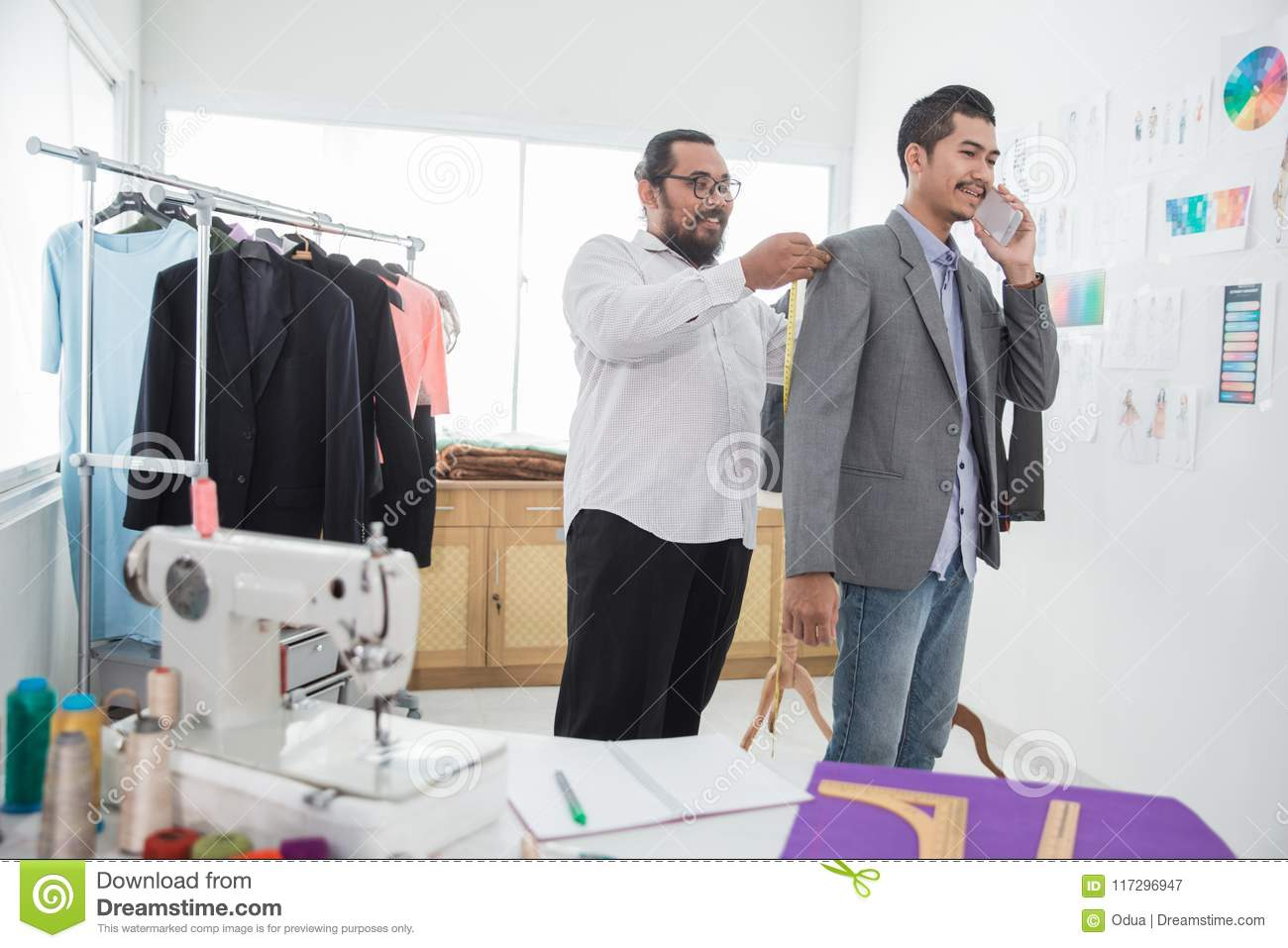 Male Fashion Designer Take A Measure For Clothing Stock Image Image Of Tailor Garment 117296947