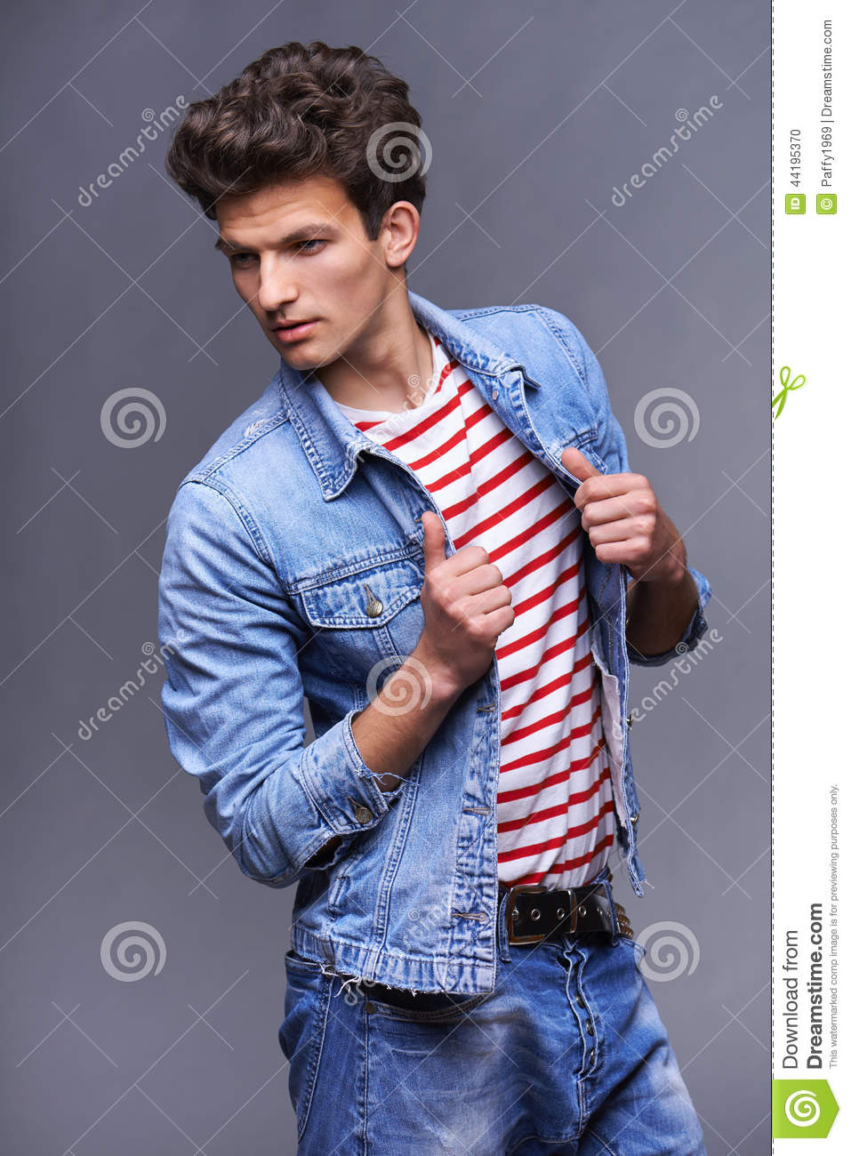 Male fashion model with modern haircut