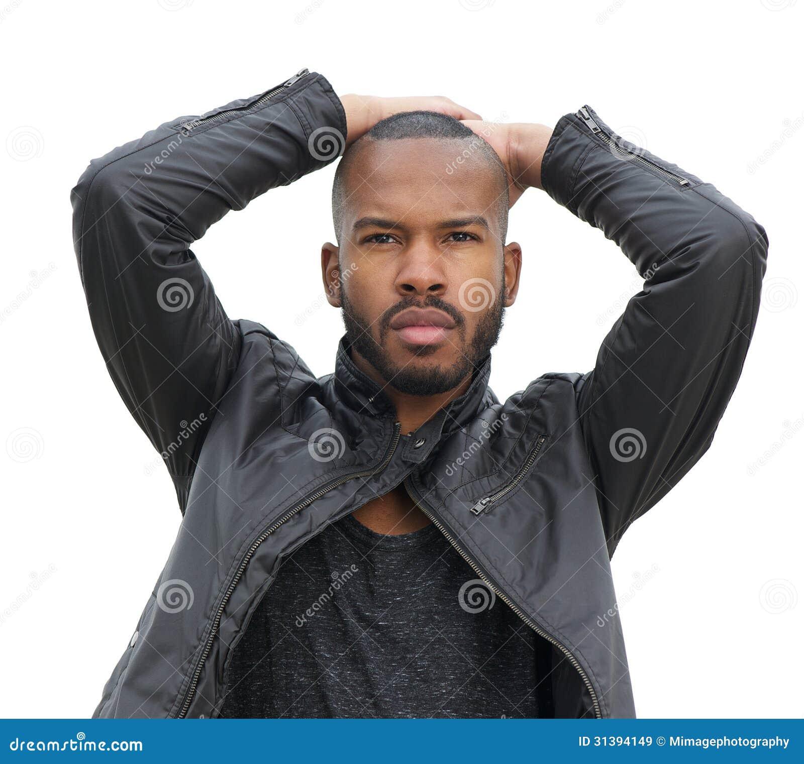 Black Fashion Models Poses: Male Fashion Model Posing In Black Leather Jacket Stock