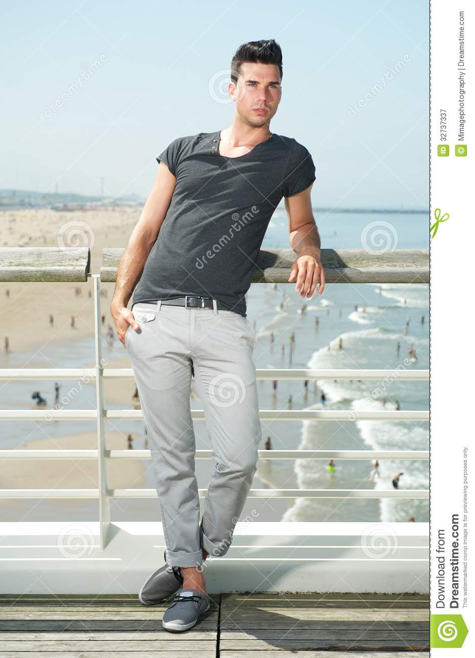 Male Fashion Model Standing At Beach Stock Image Image 32737337