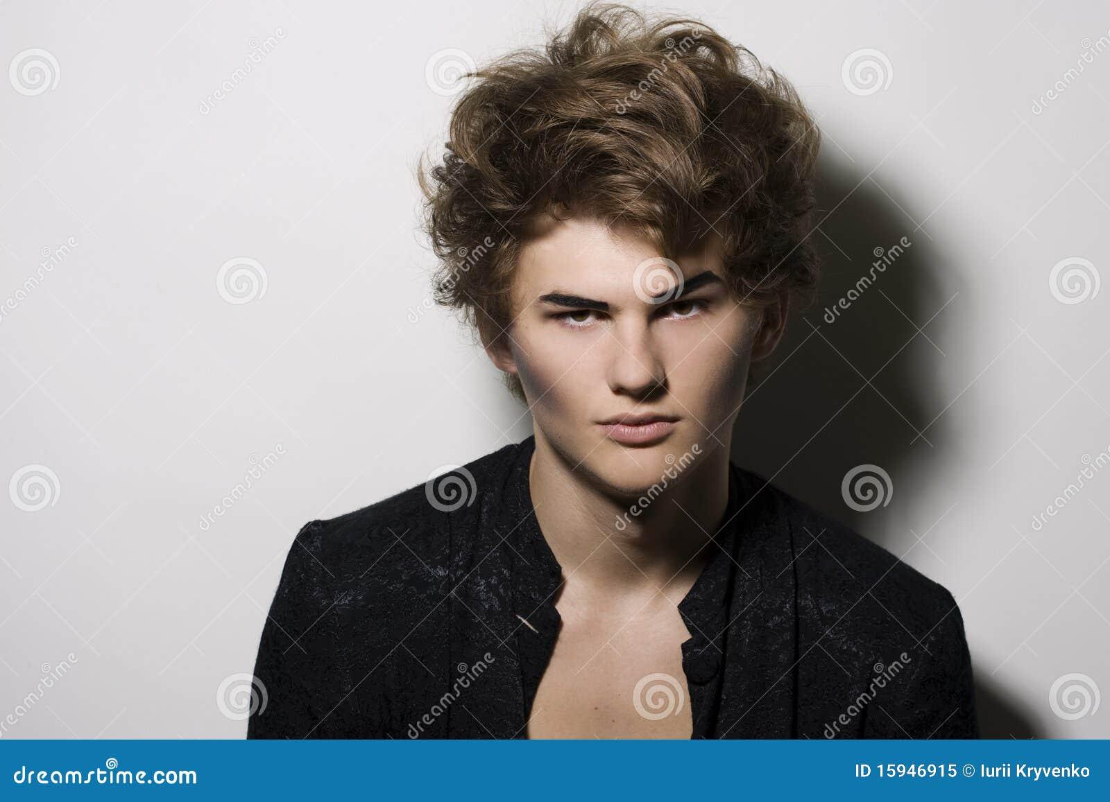 Male fashion model with stylish makeup