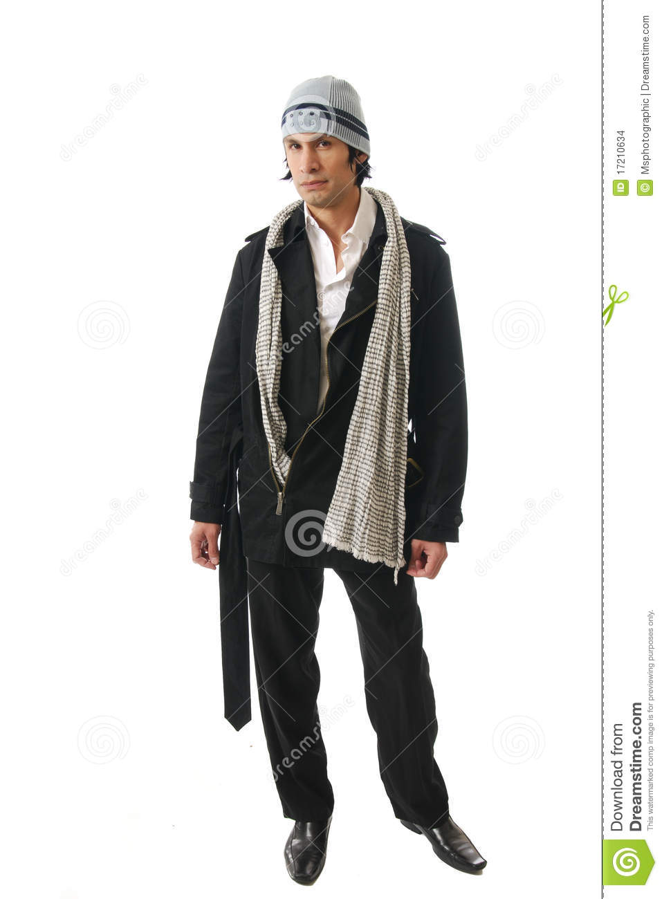 male fashion model in winter clothes stock photo image