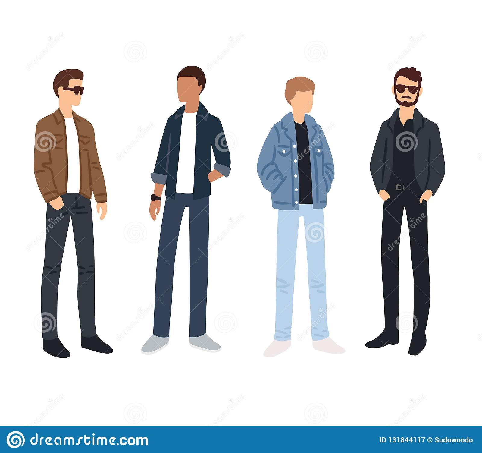 137e49b9 Male fashion models color sketches. Young people in casual street style  clothes. Isolated vector illustration