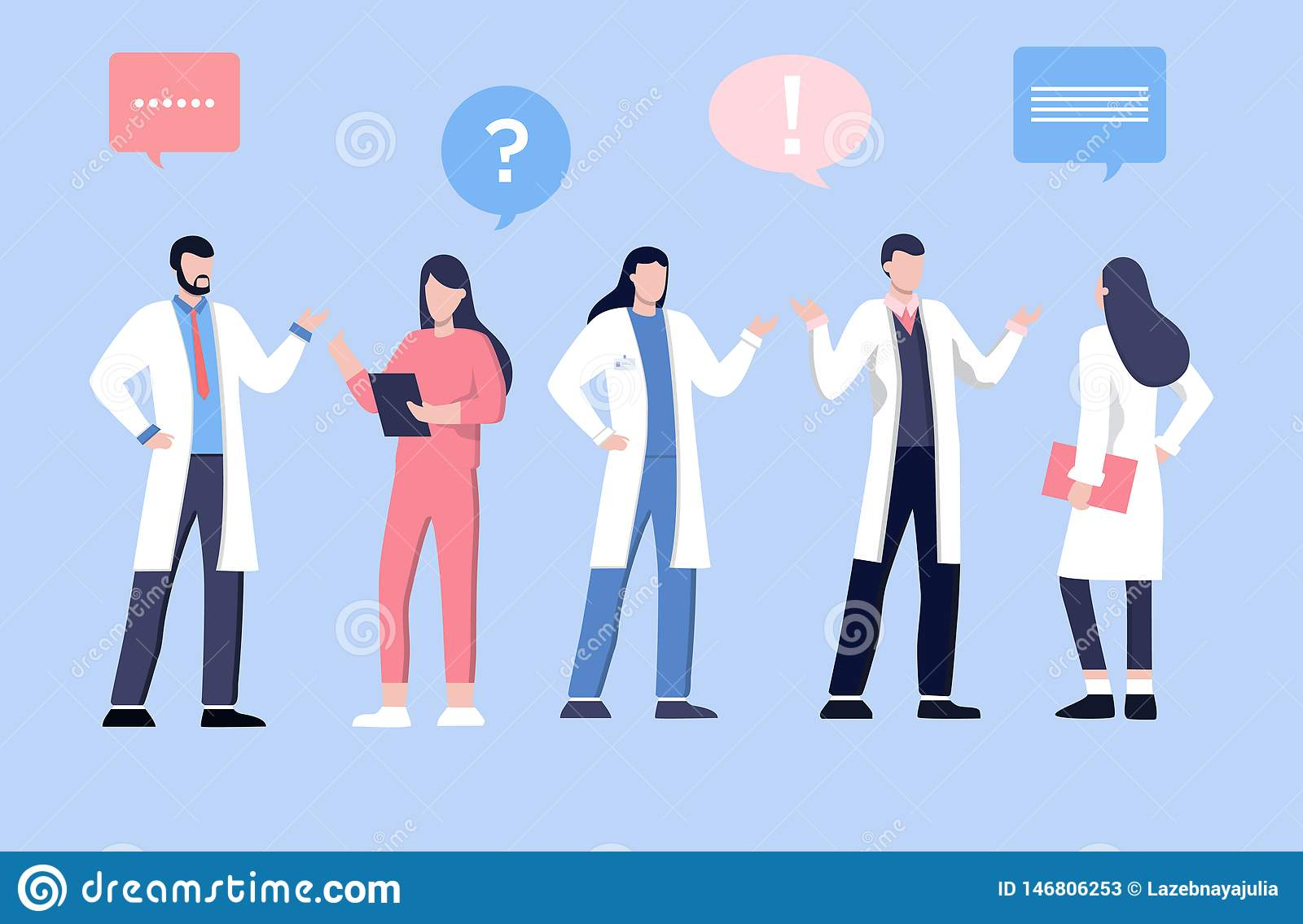 Male and feamle doctor talking with patients. Healthcare services, Ask a doctor. Therapist in uniform with stethoscope.