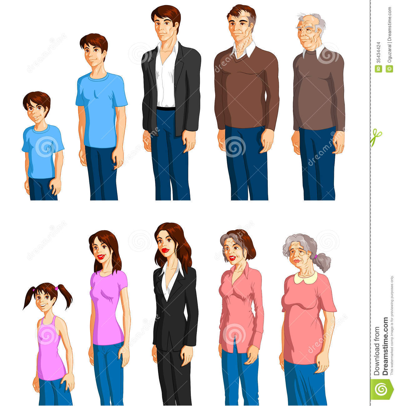 Aging: Male And Female Aging Stock Vector. Illustration Of