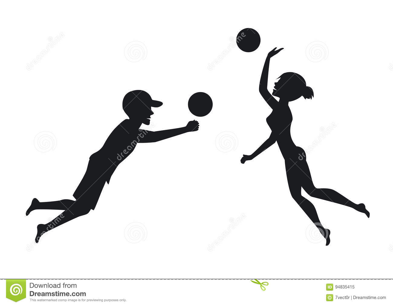 Illustration Abstract Volleyball Player Silhouette: Male And Female Beach Volleyball Players Stock Vector